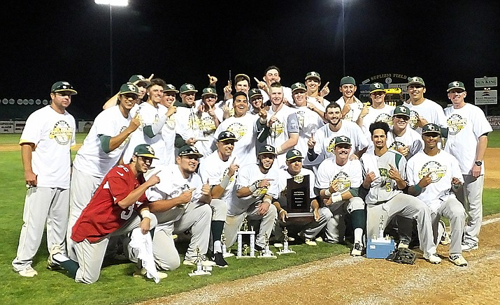 The Yavapai College baseball team poses for a team photo after winning the NJCAA national championship with a 5-2 win over San Jacinto-North College on Saturday evening in Grand Junction, Colorado. It is the Roughriders' fourth national title in program history, their first since 1993. (Joseph Harold, Montrose Daily Press/Courtesy)