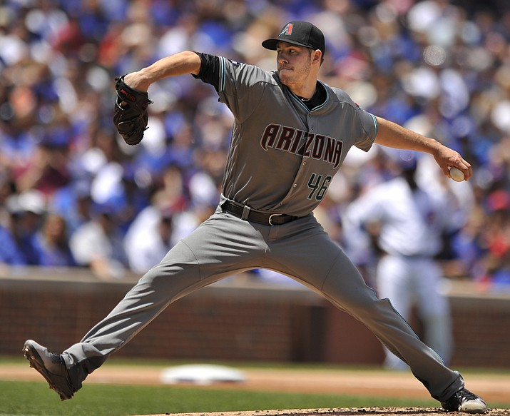 Arizona Diamondbacks starter Patrick Corbin delivers a pitch against the Chicago Cubs, Sunday, June 5, in Chicago.