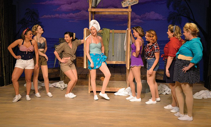 "Kelsey Claire, Laurel Calhoun, Dahlia Rose, Caitlin Burd, Sidney Hill, Joany Cole, Janelle Devin and Tina Blake in Prescott Center for the Arts' production of ""South Pacific."""