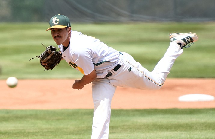 Yavapai College pitcher Joseph Romero delivers a pitch in the first inning against South Mountain on May 6. Romero is ranked No. 124 on MLB.com's Top 200 Prospects list, and is projected to go in the top five rounds of the 2016 MLB Amateur Player Draft beginning Thursday, June 9. (Les Stukenberg/The Daily Courier)