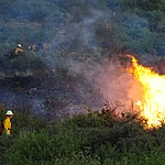 Firefighters work around hot spots getting a line built as fire burns through the hills on the south side of Yarnell Wednesday afternoon. (Les Stukenberg/The Daily Courier)