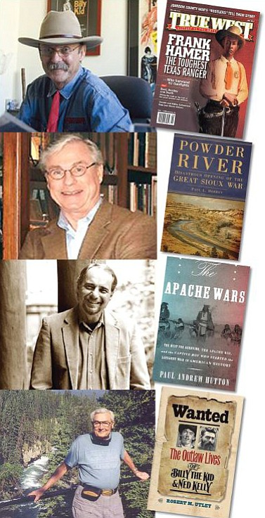 From top, Bob Boze Bell, Paul Hedren, Paul Andrew Hutton and Robert Marshal Utley will be at The Peregrine Book Company Saturday, June 11, for a panel discussion on Western history.