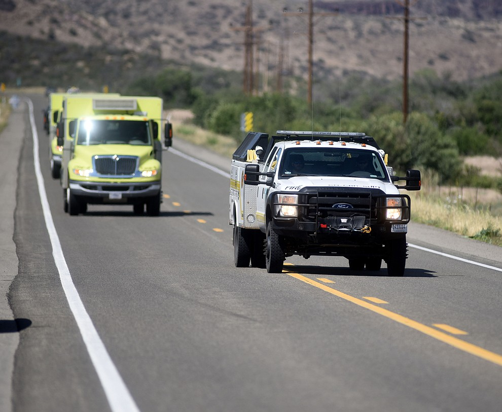 The Craig Hotshots arrive at the Tenderfoot Fire near Yarnell Thursday afternoon. (Les Stukenberg/The Daily Courier)