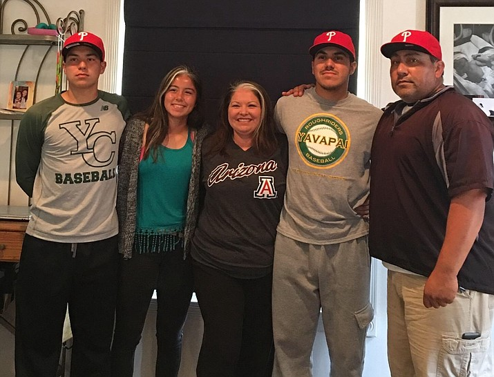 Yavapai College left-handed pitcher JoJo Romero, second from right, stands with family at his home in Oxnard, California, after being selected by the Philadelphia Phillies with the 107th pick in the 2016 MLB Amateur Draft on Friday, June 10. From left to right: Romero's brother Joshua, his sister Sirena, his mom Elena and his father Abel. (Photo Courtesy of JoJo Romero)