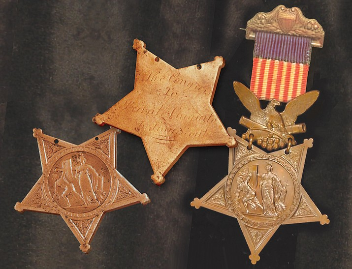 Planchet of Chiquito's Medal of Honor (center) set between front and rear views of similar Medal of 1870s era.