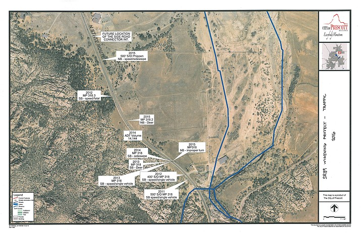 This Prescott City map shows the history of accidents in the area.