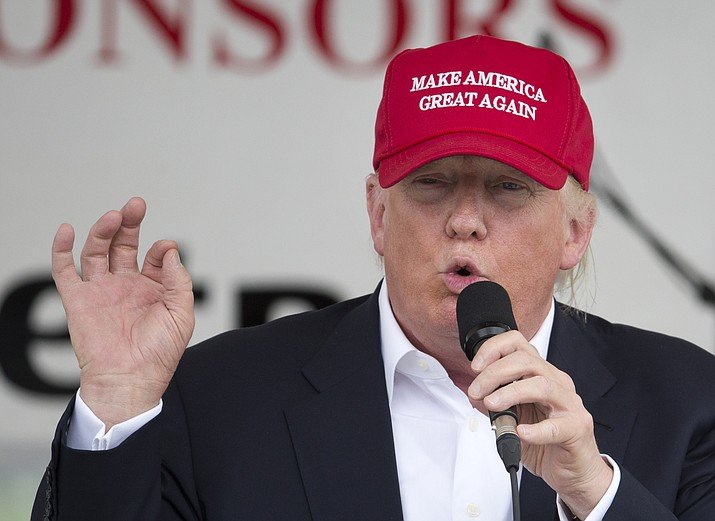 In this Sunday, May 29, 2016, file photo, Republican presidential candidate Donald Trump speaks to supporters and bikers at a Rolling Thunder rally at the National Mall.