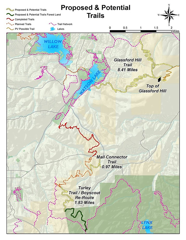 This map from the City of Prescott shows proposed and potential trails: yellow lines denote proposed and potential trails; green, proposed and potential trails on forest land; red, completed trails; brown dashes, planned trails; brown solid, possible Prescott Valley trail; and pink dashes, existing trail network.