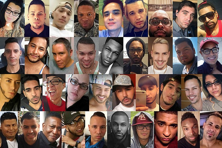 This combination of photos shows some of the dozens of those killed in a mass shooting early Sunday, June 12, 2016 at the Pulse gay nightclub in Orlando, Fla. Top row from left are: Amanda Alvear, Angel L. Candelario-Padro, Anthony Luis Laureano Disla, Antonio Davon Brown, Christopher Leinonen, Christopher Joseph Sanfeliz, Darryl Roman Burt II, Edward Sotomayor Jr. and Enrique L. Rios, Jr. Second row from left are: Eric Ivan Ortiz-Rivera, Frank Hernandez, Franky Jimmy Dejesus Velazquez, Gilberto Ramon Silva Menendez, Jason Benjamin Josaphat, Javier Jorge-Reyes, Jean Carlos Mendez Perez, Joel Rayon Paniagua and Jonathan Antonio Camuy Vega. Third row from left are: Juan P. Rivera Velazquez, Juan Ramon Guerrero, Kimberly Morris, Leroy Valentin Fernandez, Luis D. Conde, Luis Daniel Wilson-Leon, Luis Omar Ocasio-Capo, Luis S. Vielma, Martin Benitez Torres and Mercedez Marisol Flores. Bottom row from left are: Miguel Angel Honorato, Oscar A Aracena-Montero, Paul Terrell Henry, Peter O. Gonzalez-Cruz, Rodolfo Ayala-Ayala, Shane Evan Tomlinson, Simon Adrian Carrillo Fernandez, Stanley Almodovar III, Tevin Eugene Crosby and Xavier Emmanuel Serrano Rosado.