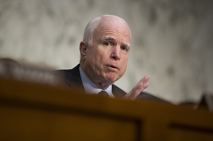 "In this April 28, 2016 file photo, Sen. John McCain, R-Ariz. speaks on Capitol Hill in Washington. McCain says President Barack Obama is ""directly responsible"" for the mass shooting in Orlando, Fla.AP, in which a gunman killed 49 people because he allowed the growth of the Islamic State on his watch."