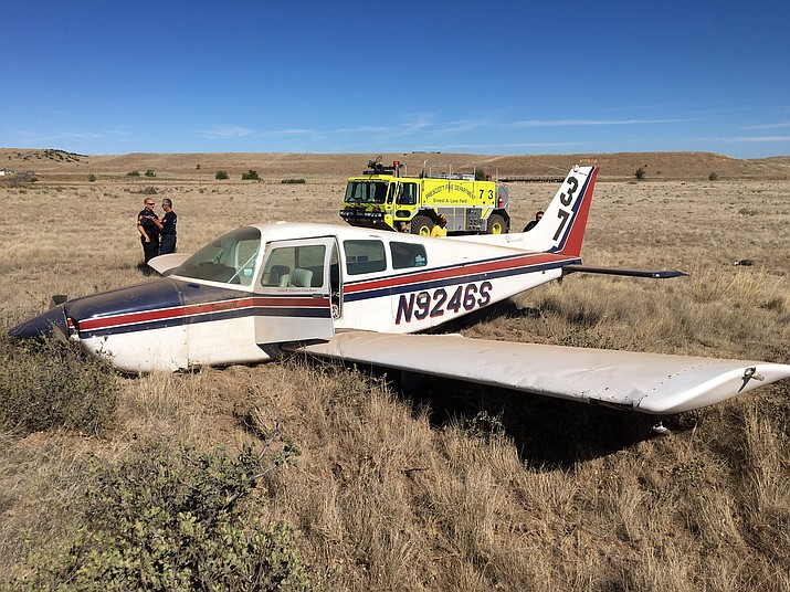 No one was injured when this airplane made an emergency landing near the Prescott airport.