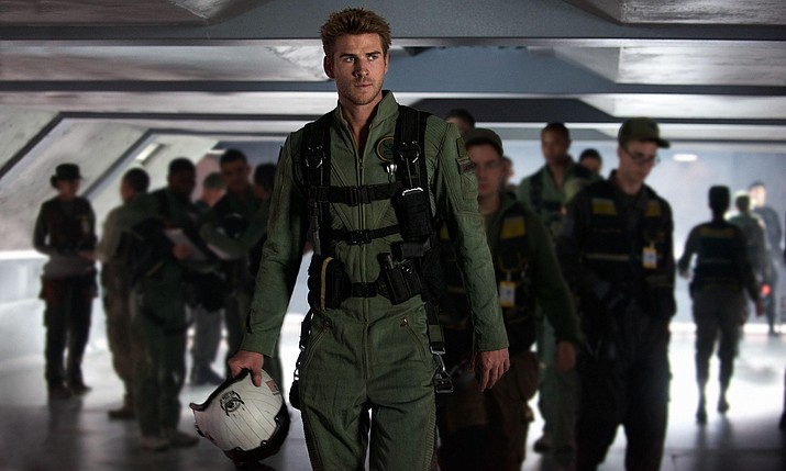 "This image released by Twentieth Century Fox shows Liam Hemsworth as Jake Morrison in a scene from ""Independence Day: Resurgence."""