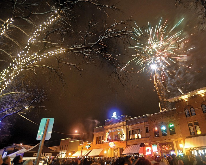 Fireworks have erupted before over Whiskey Row, welcoming in the New Year as part of the annual New Year's Eve Boot Drop in downtown Prescott.