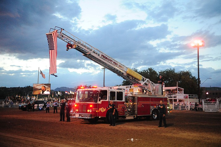 "Prescott Frontier Days, the ""World's Oldest Rodeo,"" honored first responders Friday night during the fourth performance of the 2016 Prescott Frontier Days Rodeo. Attending were personnel from Prescott Police Department, Prescott Fire Department and Lifeline Ambulance."