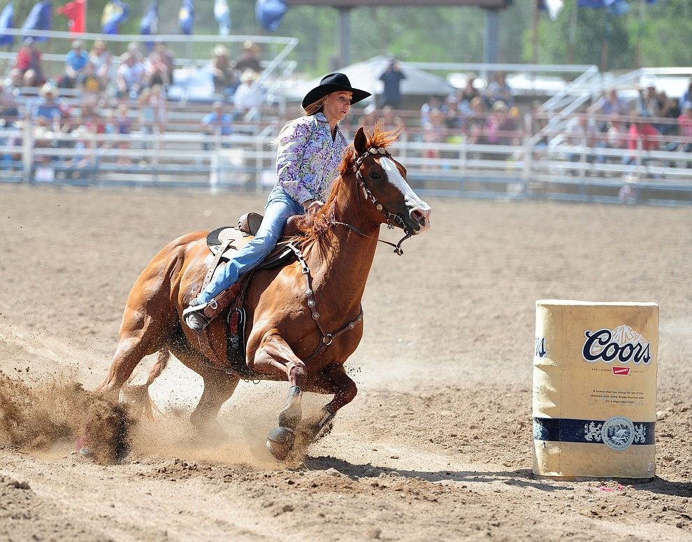 Ashley Haller has a 17.68 second run during the final performance of the 2016 Prescott Frontier Days Rodeo Monday afternoon. (Les Stukenberg/The Daily Courier)