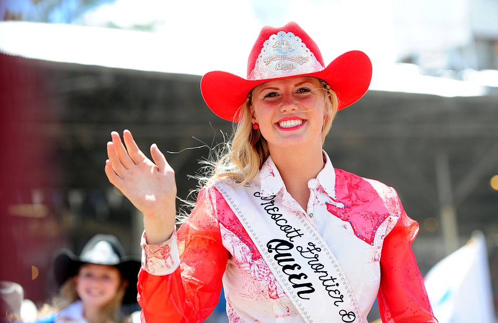 Prescott Frontier Day Queen Bailey Anderson during the final performance of the 2016 Prescott Frontier Days Rodeo Monday afternoon. (Les Stukenberg/The Daily Courier)