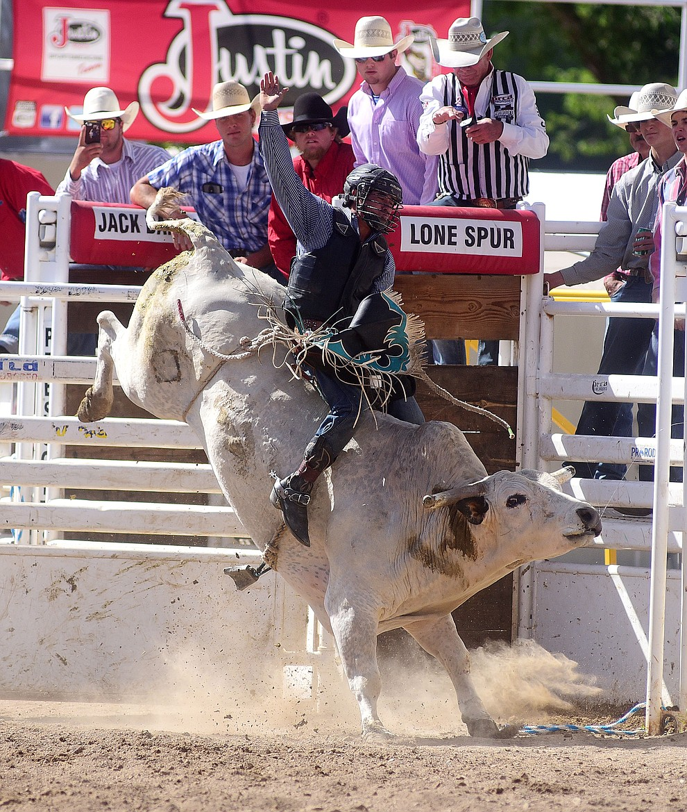 Bryce Barrios on Sandy's Dream during the final performance of the 2016 Prescott Frontier Days Rodeo Monday afternoon. (Les Stukenberg/The Daily Courier)
