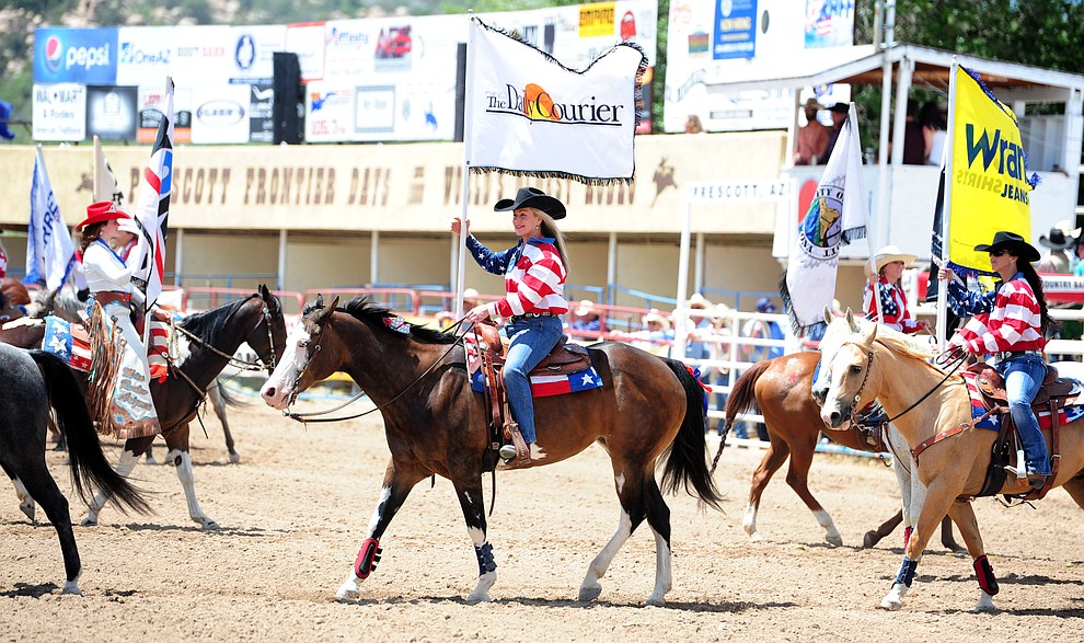 during the final performance of the 2016 Prescott Frontier Days Rodeo Monday afternoon. (Les Stukenberg/The Daily Courier)