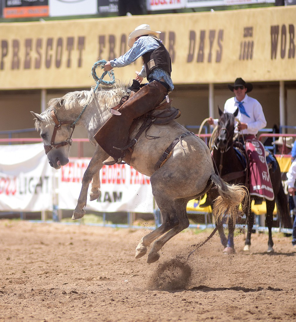 Olan Borg scored 77 during the ranch bronc riding during the final performance of the 2016 Prescott Frontier Days Rodeo Monday afternoon. (Les Stukenberg/The Daily Courier)