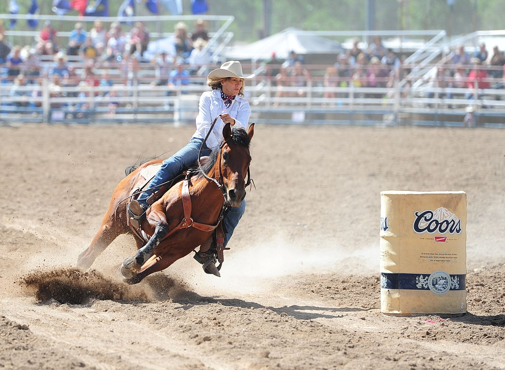 Chino Valley's Liz King has an 18.6 second run during the final performance of the 2016 Prescott Frontier Days Rodeo Monday afternoon. (Les Stukenberg/The Daily Courier)