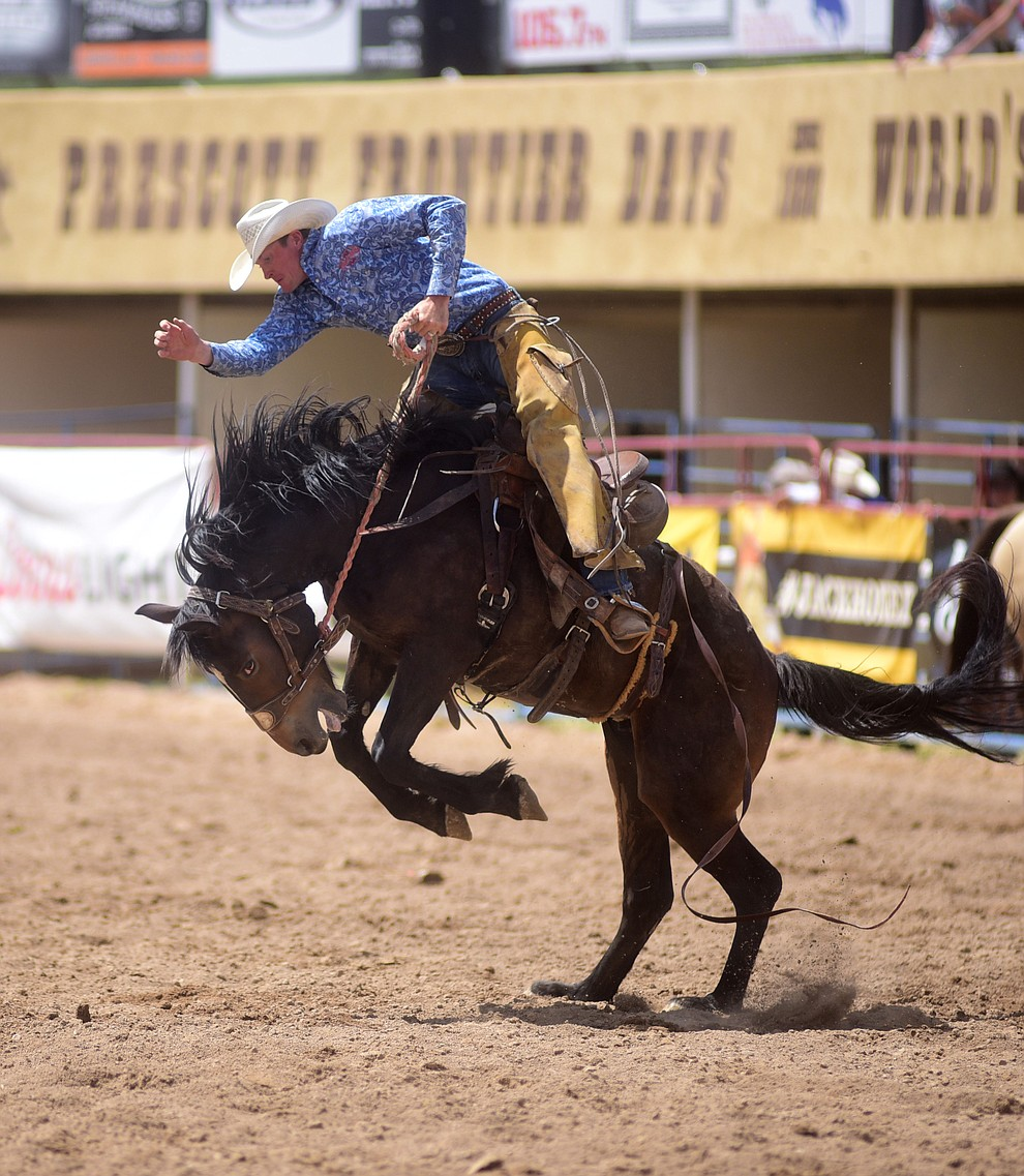 Miles Dewitt won the Ranch Bronc Riding with a 79 during the final performance of the 2016 Prescott Frontier Days Rodeo Monday afternoon. (Les Stukenberg/The Daily Courier)