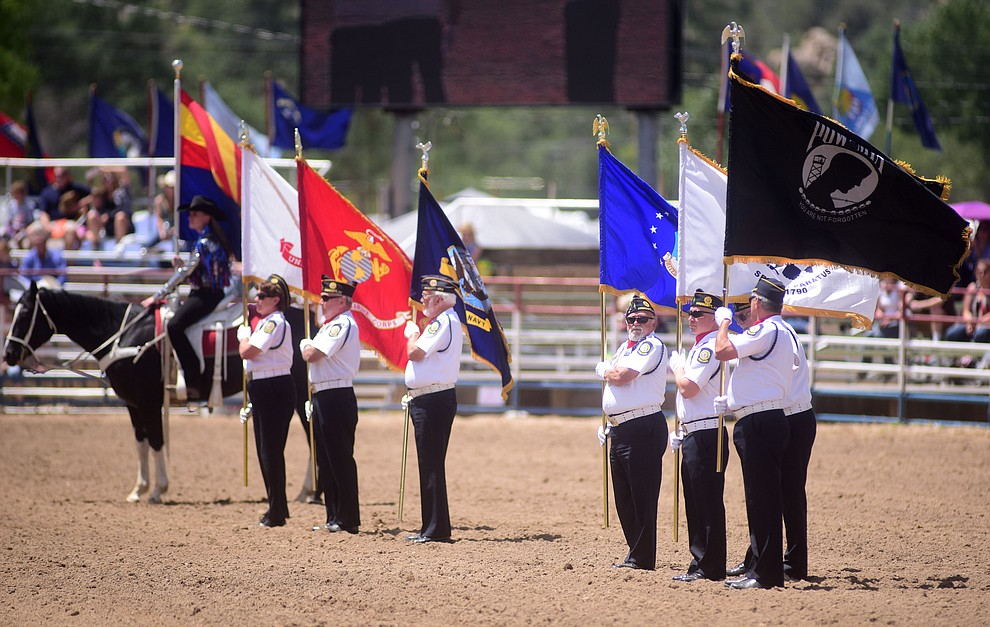 United States military members and veterans were honored during the final performance of the 2016 Prescott Frontier Days Rodeo Monday afternoon. (Les Stukenberg/The Daily Courier)