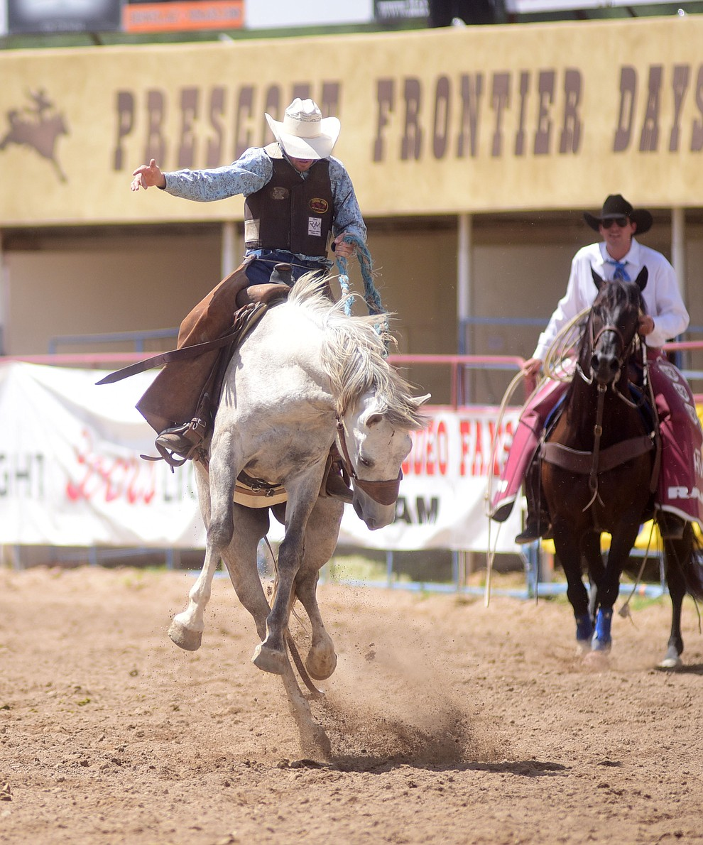 Olan Borg scored 77 in the ranch bronc riding during the final performance of the 2016 Prescott Frontier Days Rodeo Monday afternoon. (Les Stukenberg/The Daily Courier)