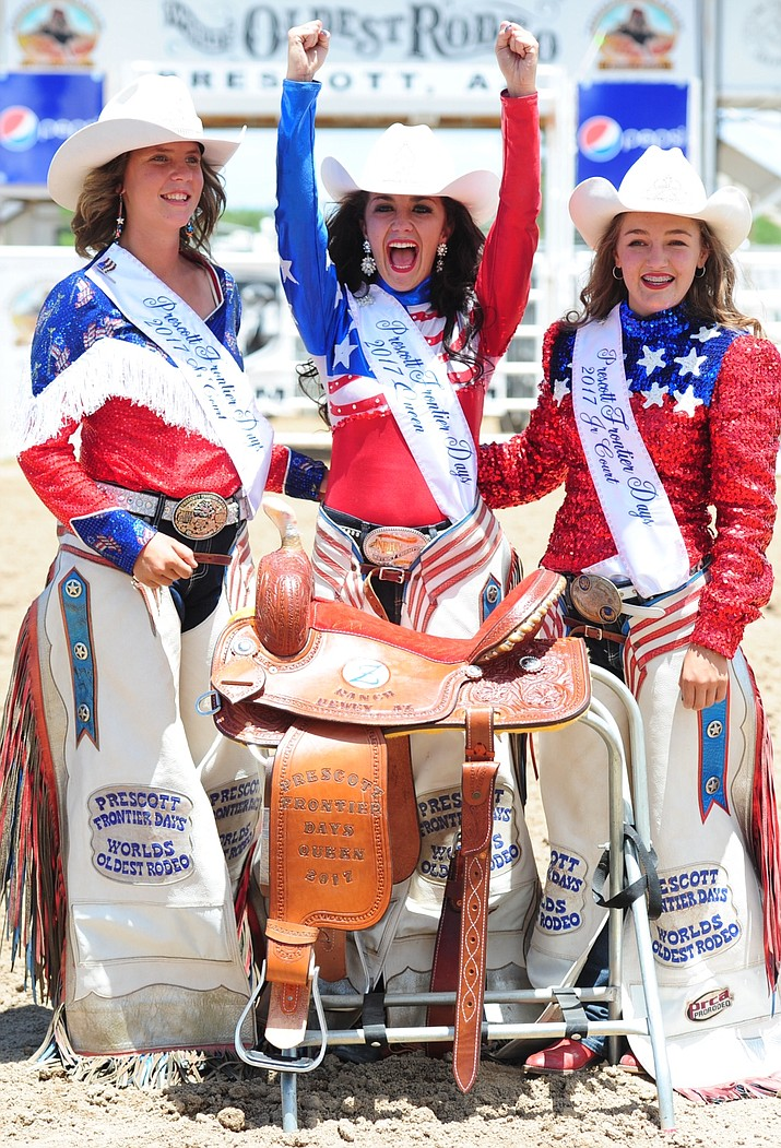 From left are Prescott Frontier Days Senior Court Desiree Johnson, Queen Giana DeMaria and Junior Court Emma Sigfried. They will spend the next year representing Prescott Frontier Days locally and across the state.