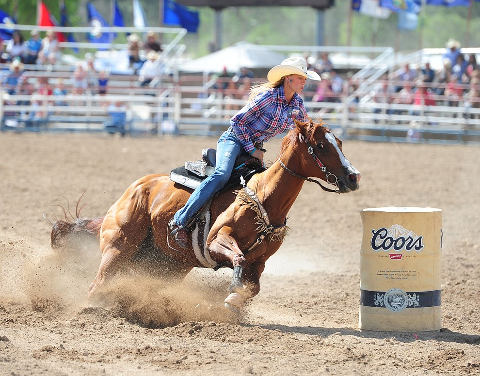 Sarah Rose McDonald had a 17.94 second run during the final performance of the 2016 Prescott Frontier Days Rodeo Monday afternoon. (Les Stukenberg/The Daily Courier)