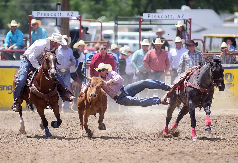 Tyke Kipp has a 7 second run during the final performance of the 2016 Prescott Frontier Days Rodeo Monday afternoon. (Les Stukenberg/The Daily Courier)