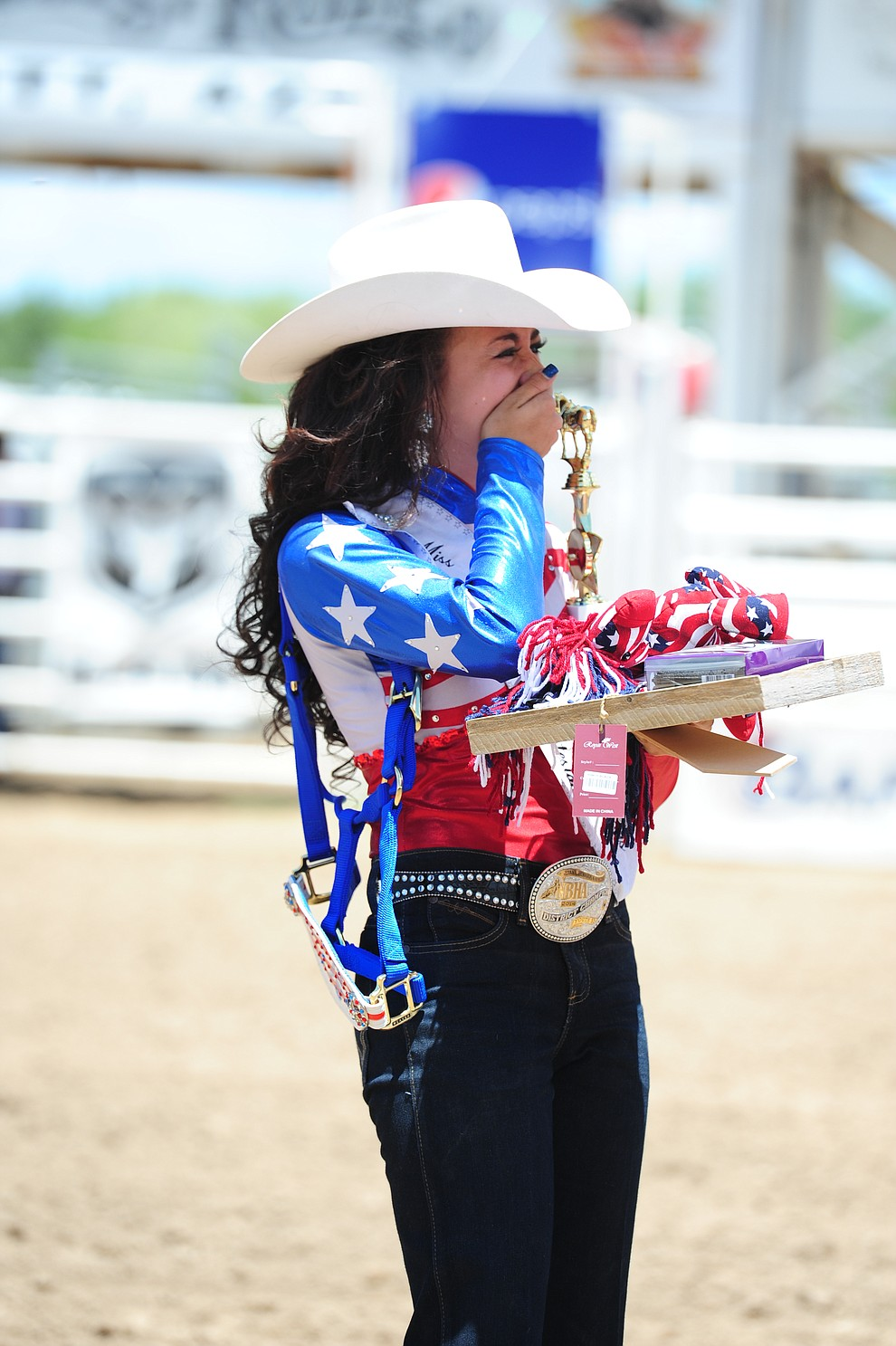 Giana DeMaria reacts after being named queen as the 2017 Prescott Frontier Days Royalty were crowned before the final performance of the 2016 Prescott Frontier Days Rodeo Monday afternoon. (Les Stukenberg/The Daily Courier)