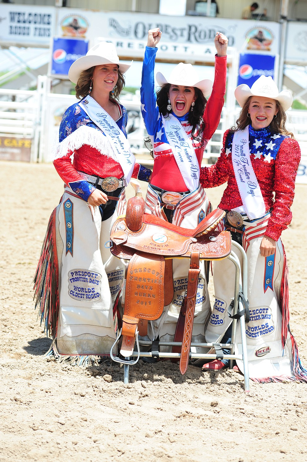 2017 Prescott Frontier Days Rodeo Royalty, from left, Senior Court Desiree Johnson, Queen Giana DeMaria and Junior Court Emma Sigfried. (Les Stukenberg/The Daily Courier)