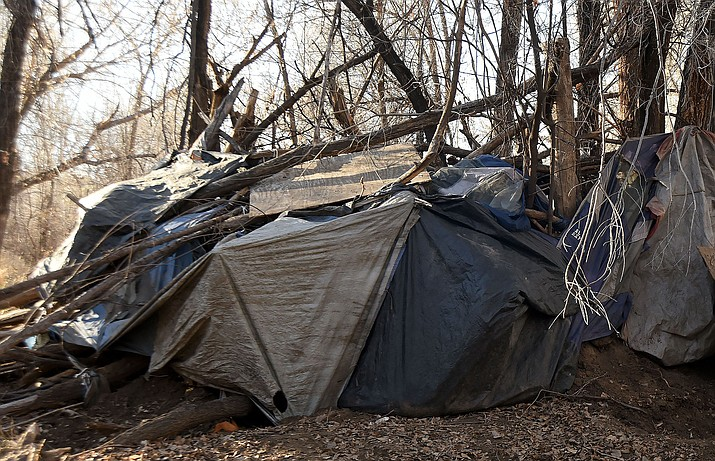 One of the makeshift shelters found during a local Point-In-Time homeless count.