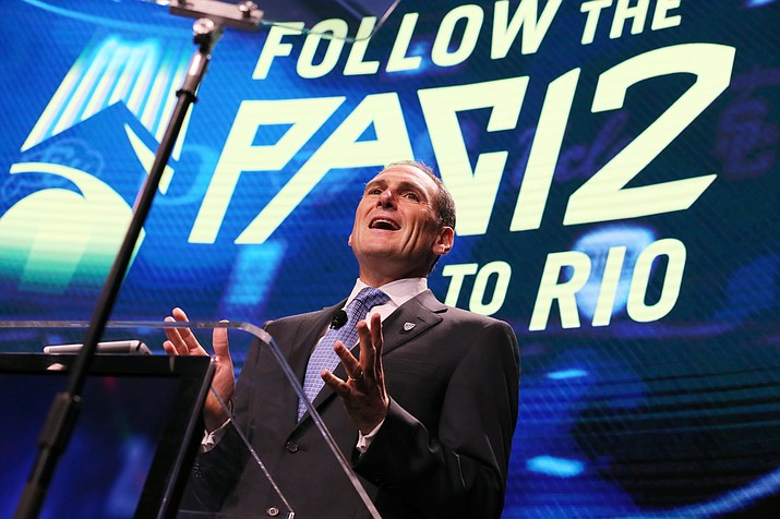 Pac-12 commissioner Larry Scott speaks at the Pac-12 NCAA college football media day in Los Angeles Thursday, July 14.