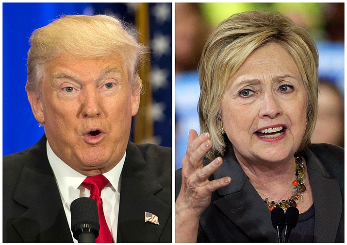 This photo combo of file images shows U.S. presidential candidates Donald Trump, left, and Hillary Clinton.