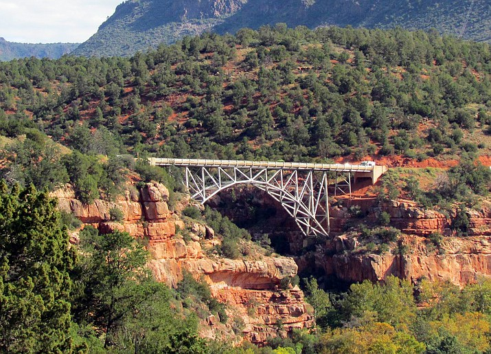 This undated file photo shows Midgley Bridge in Sedona, Ariz. Arizona transportation officials are close to getting approval to put a barrier on the bridge where people have jumped to their deaths. The Arizona Department of Transportation says the Sedona City Council will discuss the proposed barrier for Midgley Bridge at a meeting in July 2016. Four people died in 2015 jumping from the bridge.