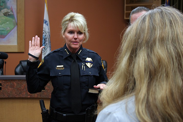 """Debora """"Debbie"""" Black takes the oath of office and is sworn in as Prescott's first female police chief at the city council chambers on Monday afternoon, July 18."""