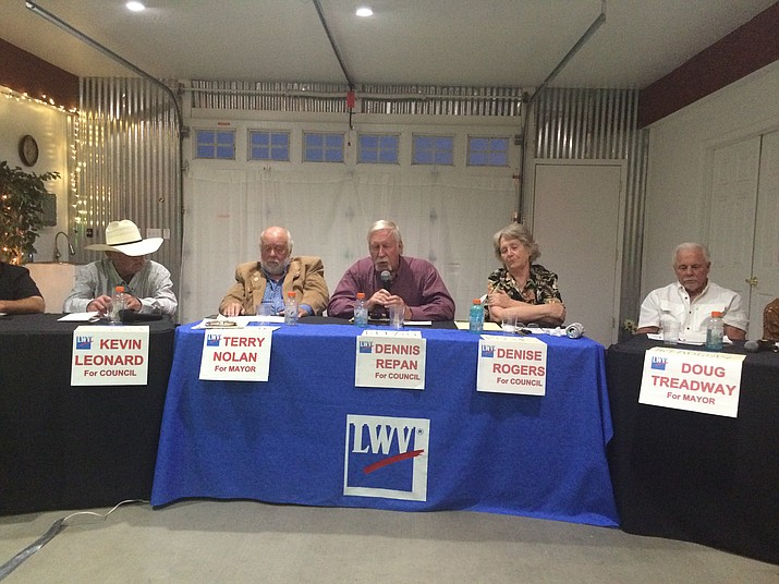 Candidates for Town Council in Dewey-Humboldt participate in a forum on Tuesday, July 12, 2016.