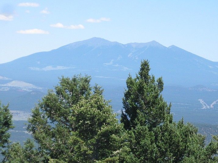 The view of Humphrey Peak, tallest in Arizona from summit of Bill Williams Mountain.