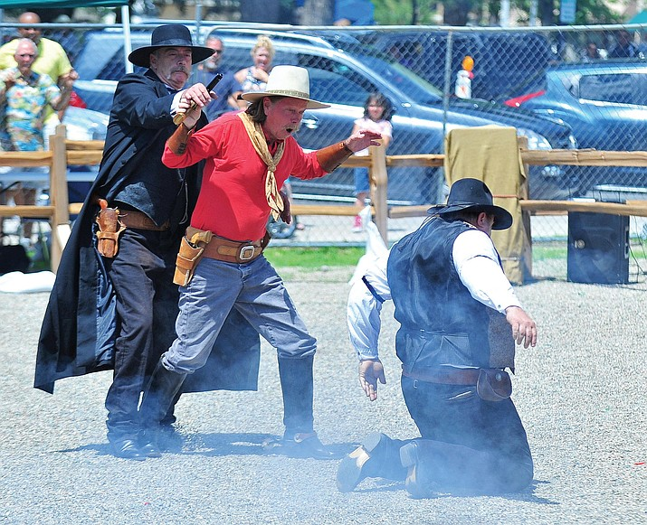 Members of the Arizona Gunfighters from Mesa re-enact the gunfight at the O.K. Corral during the ninth annual Whiskey Row Shootout. This year's event is July 23-24, from 9 a.m.-4:30 p.m. both days in downtown Prescott.