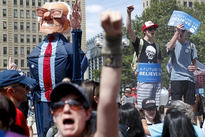 Supporters of Sen. Bernie Sanders, I-Vt., march during a protest in downtown on Sunday, July 24, in Philadelphia. The Democratic National Convention starts Monday in Philadelphia.