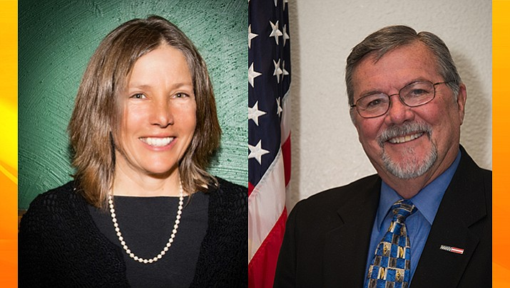 District 1 County Supervisor challenger Mary Beth Hrin, left, and incumbent Rowle Simmons.