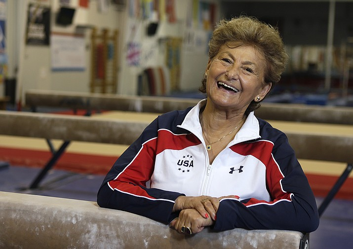 In this May 4, 2016, file photo, Marta Karolyi smiles inside the Karolyi Ranch where she and her husband, Bela Karolyi, train gymnasts, including members of the Women's National Team, in Houston. After 40 years helping some of the greatest gymnasts of all-time — from Nadia Comaneci to Mary Lou Retton to Nastia Liukin — soar to Olympic gold Martha Karolyi is ready to say goodbye. The U.S. women's national team coordinator is retiring after the 2016 games to spend time with husband Bela and travel.