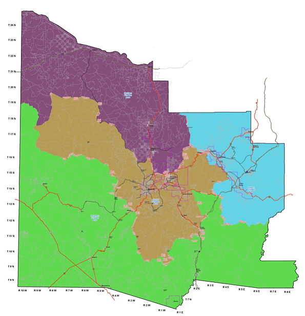 The Central Fire Ban Area is depicted in brown. The Eastern Fire Ban Area is blue; the Southern Fire Ban Area is green and the Northern Fire Ban Area is purple.