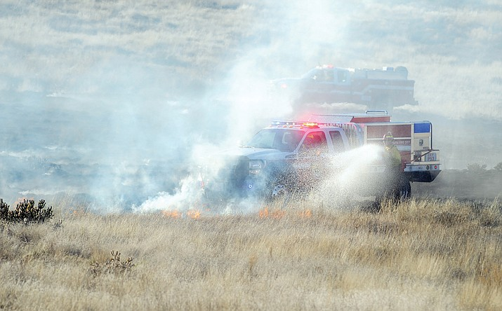 Prescott National Forest (PNF) fire officials remind the community and forest visitors that Stage I Fire Restrictions remain in effect. Central Arizona firefighters work the perimeter of a 3- to 4-acre wildland fire on the state trust land north of Manley and west of Ramada Lane in Prescott Valley in 2015.