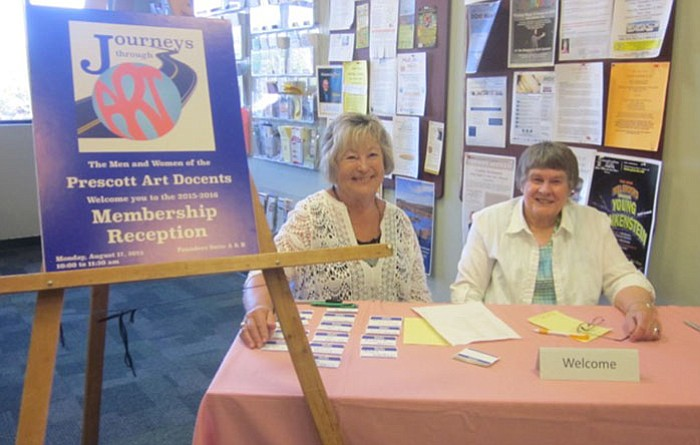 Prescott Art Docents Alice Kring, left, and Susan Wolfe at the 2015 Membership Reception.