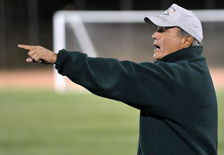 Yavapai soccer Head Coach Mike Pantalione moves his players around from the sideline while playing against Phoenix College in 2015 during a NJCAA Region 1 Division 1 semifinal game at Mountain Valley Park in Prescott Valley.