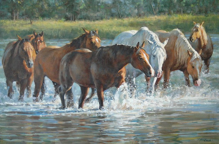 """Splash of Light"" by Phil Beck. Beck is one of the 33 artists whose work will be part of the Phippen Museum's ""Hold Your Horses!"" exhibit."