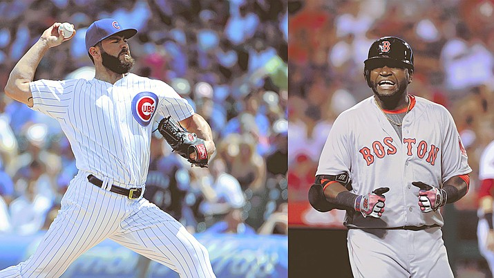 Chicago Cubs starting pitcher Jake Arietta, left, and Boston Red Sox designated hitter David Ortiz could meet up in the 2016 World Series, but a lot has to happen between now and then. (File Photos/Associated Press)
