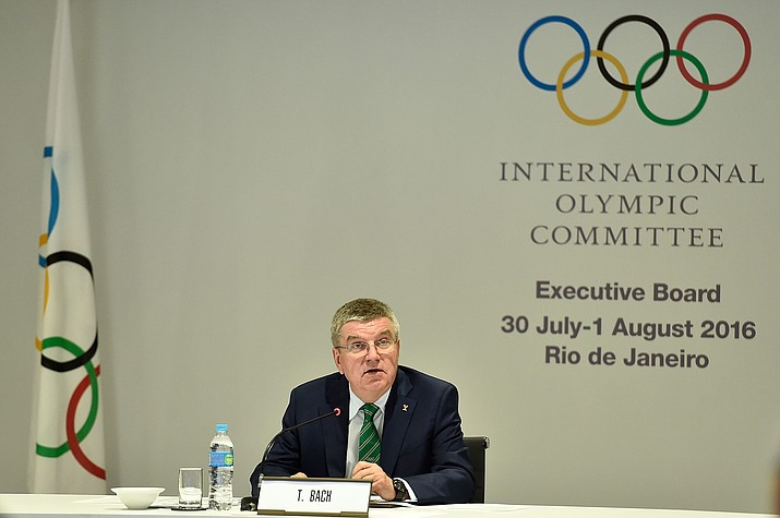 International Olympic Committee President Thomas Bach speaks during the IOC Executive Board Meeting ahead of the 2016 Summer Olympics on July 30 in Rio de Janeiro, Brazil.